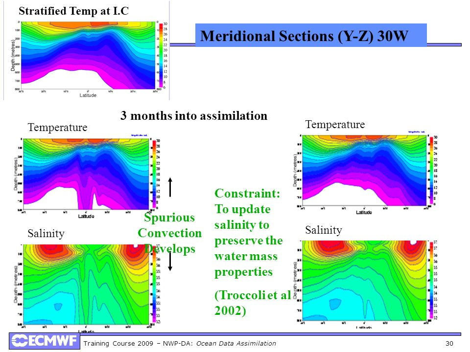 Training Course 2009 – NWP-DA: Ocean Data Assimilation 30 3 months into assimilation Stratified Temp at I.C Meridional Sections (Y-Z) 30W Temperature