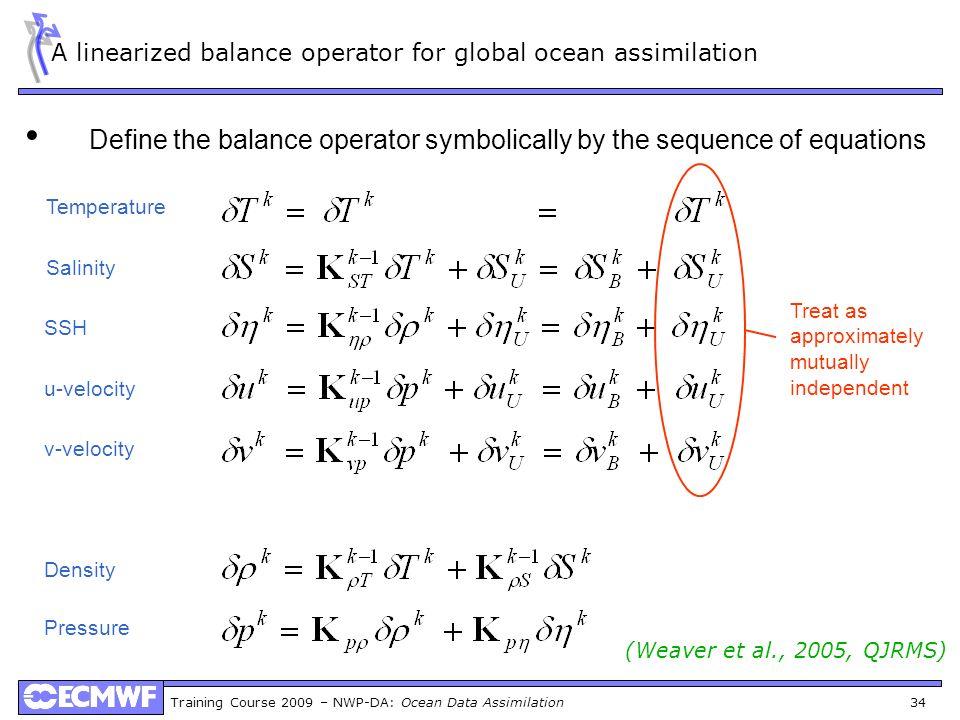 Training Course 2009 – NWP-DA: Ocean Data Assimilation 34 A linearized balance operator for global ocean assimilation Define the balance operator symb