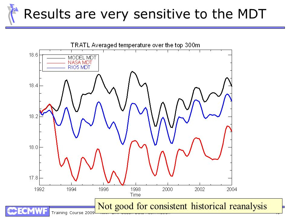 Training Course 2009 – NWP-DA: Ocean Data Assimilation 40 Results are very sensitive to the MDT Not good for consistent historical reanalysis