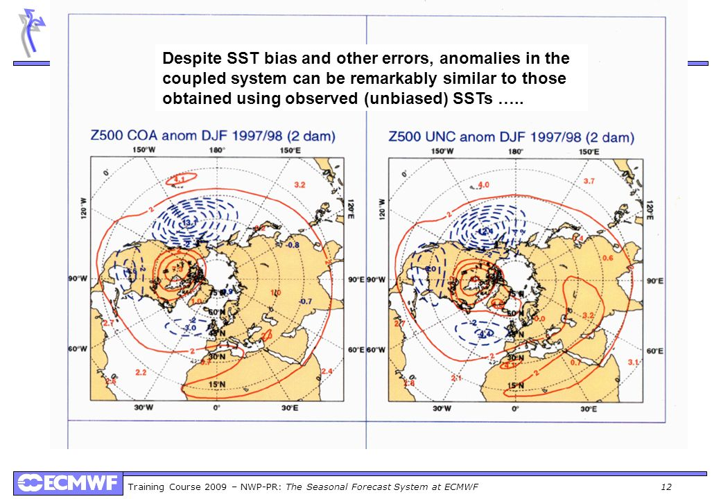 Training Course 2009 – NWP-PR: The Seasonal Forecast System at ECMWF 12 Despite SST bias and other errors, anomalies in the coupled system can be rema