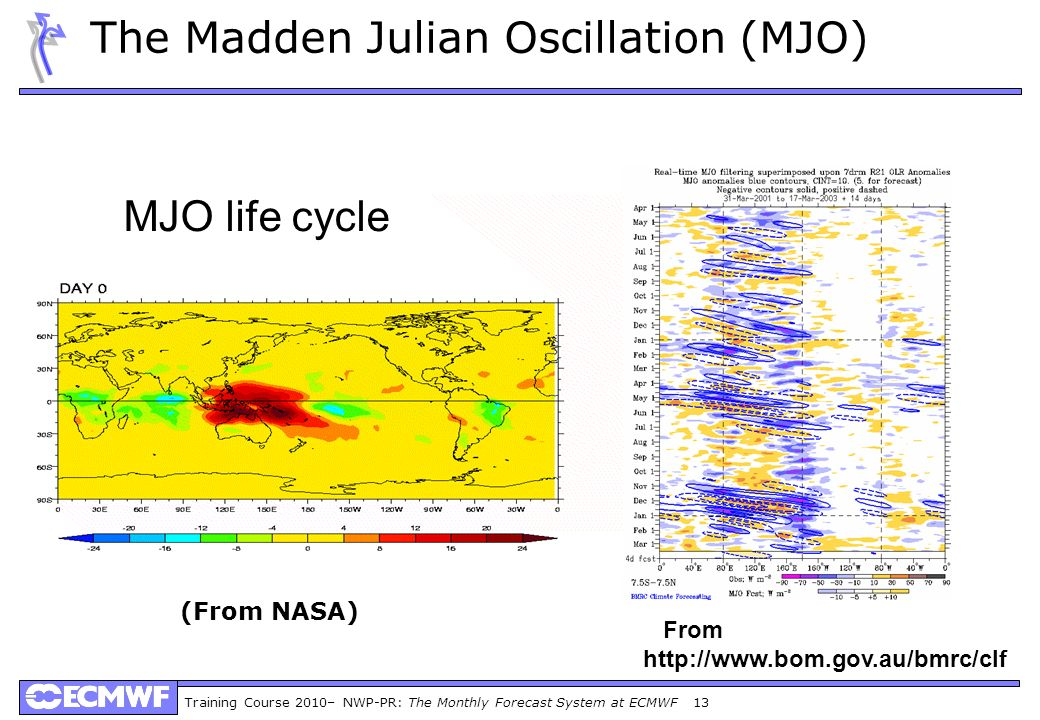 Training Course 2010– NWP-PR: The Monthly Forecast System at ECMWF 13 The Madden Julian Oscillation (MJO) From http://www.bom.gov.au/bmrc/clf MJO life