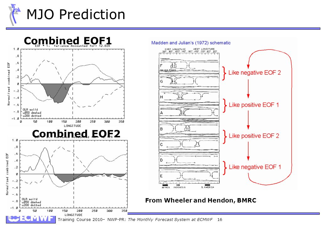 Training Course 2010– NWP-PR: The Monthly Forecast System at ECMWF 16 MJO Prediction Combined EOF1 Combined EOF2 From Wheeler and Hendon, BMRC