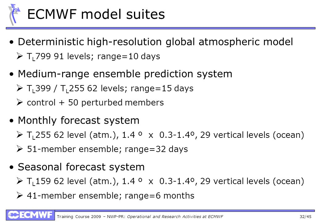 Training Course 2009 – NWP-PR: Operational and Research Activities at ECMWF 32/45 ECMWF model suites Deterministic high-resolution global atmospheric model T L 799 91 levels; range=10 days Medium-range ensemble prediction system T L 399 / T L 255 62 levels; range=15 days control + 50 perturbed members Monthly forecast system T L 255 62 level (atm.), 1.4 º x 0.3-1.4º, 29 vertical levels (ocean) 51-member ensemble; range=32 days Seasonal forecast system T L 159 62 level (atm.), 1.4 º x 0.3-1.4º, 29 vertical levels (ocean) 41-member ensemble; range=6 months