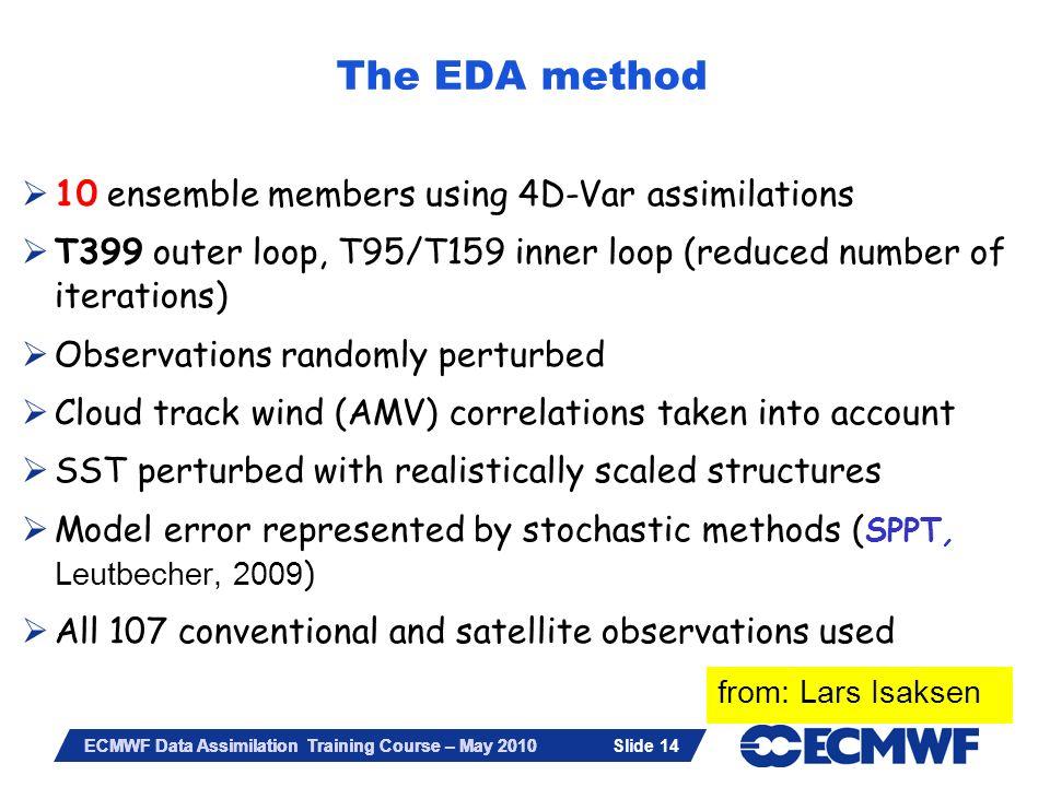 Slide 14 ECMWF Data Assimilation Training Course – May 2010 10 ensemble members using 4D-Var assimilations T399 outer loop, T95/T159 inner loop (reduc