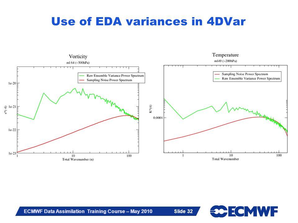 Slide 32 ECMWF Data Assimilation Training Course – May 2010 Slide 32 Use of EDA variances in 4DVar