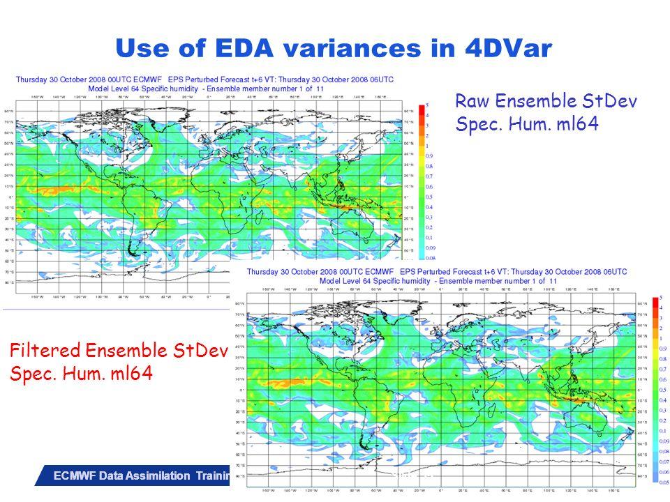 Slide 35 ECMWF Data Assimilation Training Course – May 2010 Raw Ensemble StDev Spec. Hum. ml64 Filtered Ensemble StDev Spec. Hum. ml64 Slide 35 Use of