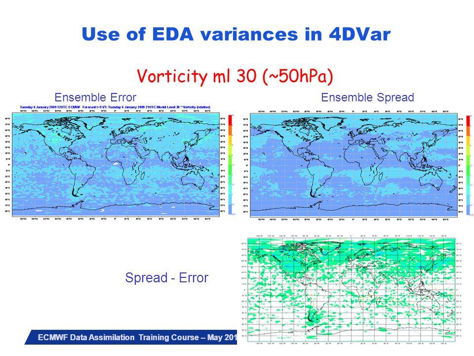 Slide 39 ECMWF Data Assimilation Training Course – May 2010 Vorticity ml 30 (~50hPa) Ensemble Error Ensemble Spread Spread - Error Slide 39 Use of EDA