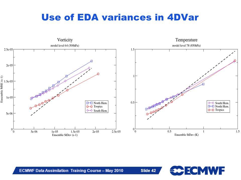 Slide 42 ECMWF Data Assimilation Training Course – May 2010 Slide 42 Use of EDA variances in 4DVar