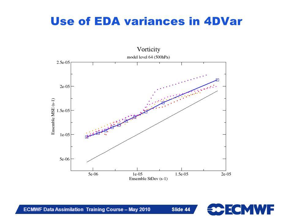 Slide 44 ECMWF Data Assimilation Training Course – May 2010 Slide 44 Use of EDA variances in 4DVar