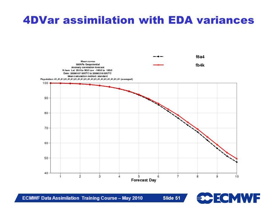 Slide 51 ECMWF Data Assimilation Training Course – May 2010 4DVar assimilation with EDA variances Slide 51