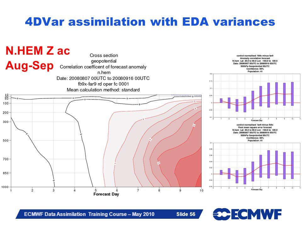 Slide 56 ECMWF Data Assimilation Training Course – May 2010 4DVar assimilation with EDA variances N.HEM Z ac Aug-Sep Slide 56