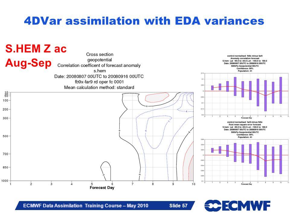 Slide 57 ECMWF Data Assimilation Training Course – May 2010 4DVar assimilation with EDA variances S.HEM Z ac Aug-Sep Slide 57