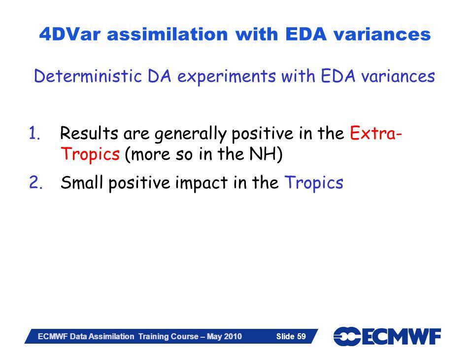 Slide 59 ECMWF Data Assimilation Training Course – May 2010 4DVar assimilation with EDA variances Deterministic DA experiments with EDA variances 1.Re