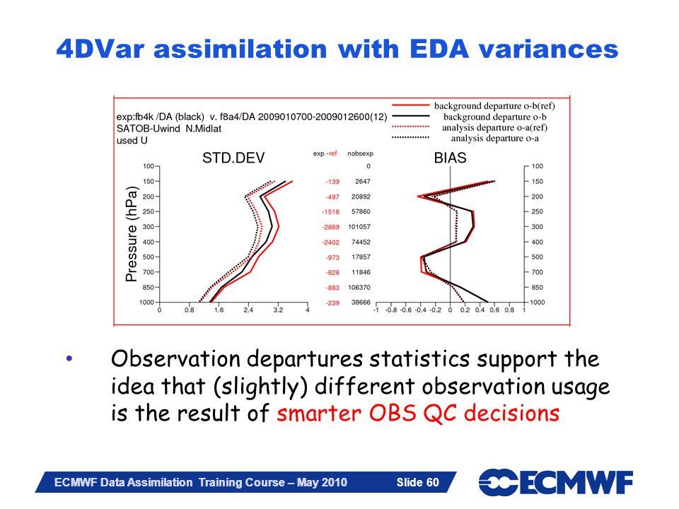 Slide 60 ECMWF Data Assimilation Training Course – May 2010 4DVar assimilation with EDA variances Slide 60 Observation departures statistics support t