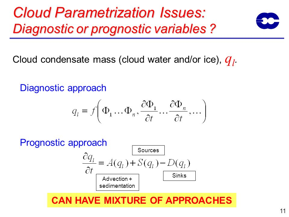 11 Cloud Parametrization Issues: Diagnostic or prognostic variables ? Cloud condensate mass (cloud water and/or ice), q l. Diagnostic approach Prognos