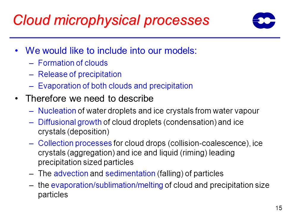 15 Cloud microphysical processes We would like to include into our models: –Formation of clouds –Release of precipitation –Evaporation of both clouds