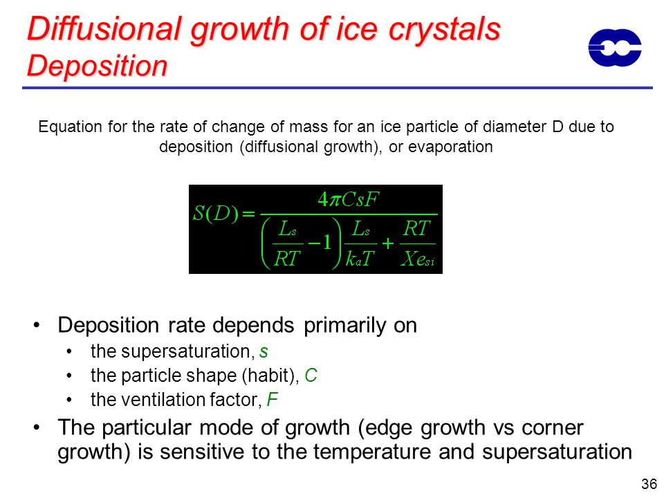 36 Equation for the rate of change of mass for an ice particle of diameter D due to deposition (diffusional growth), or evaporation Diffusional growth
