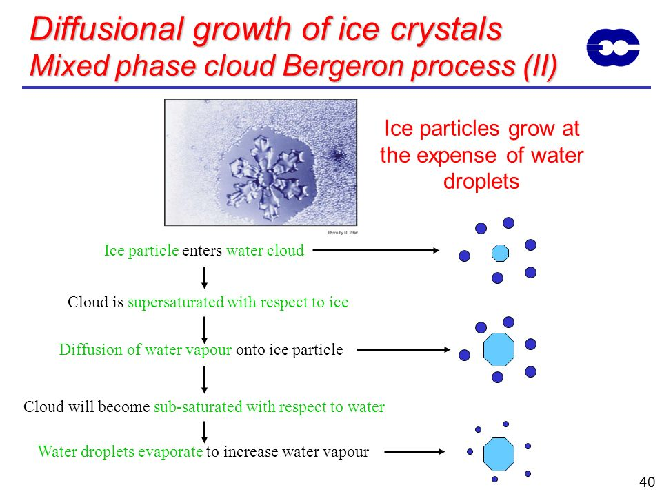 40 Diffusional growth of ice crystals Mixed phase cloud Bergeron process (II) Ice particle enters water cloud Cloud is supersaturated with respect to