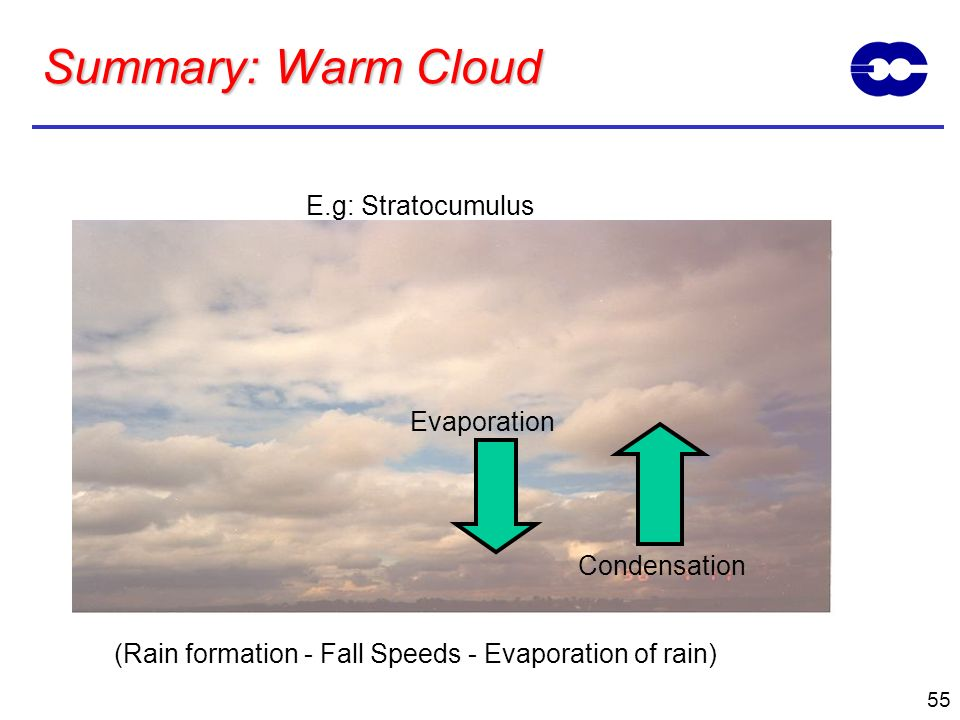 55 Summary: Warm Cloud E.g: Stratocumulus Condensation (Rain formation - Fall Speeds - Evaporation of rain) Evaporation
