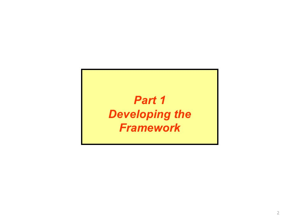2 Part 1 Developing the Framework