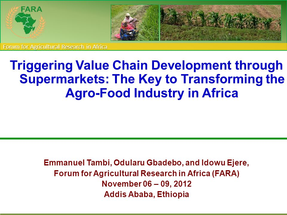 Forum for Agricultural Research in Africa Triggering Value Chain Development through Supermarkets: The Key to Transforming the Agro-Food Industry in A