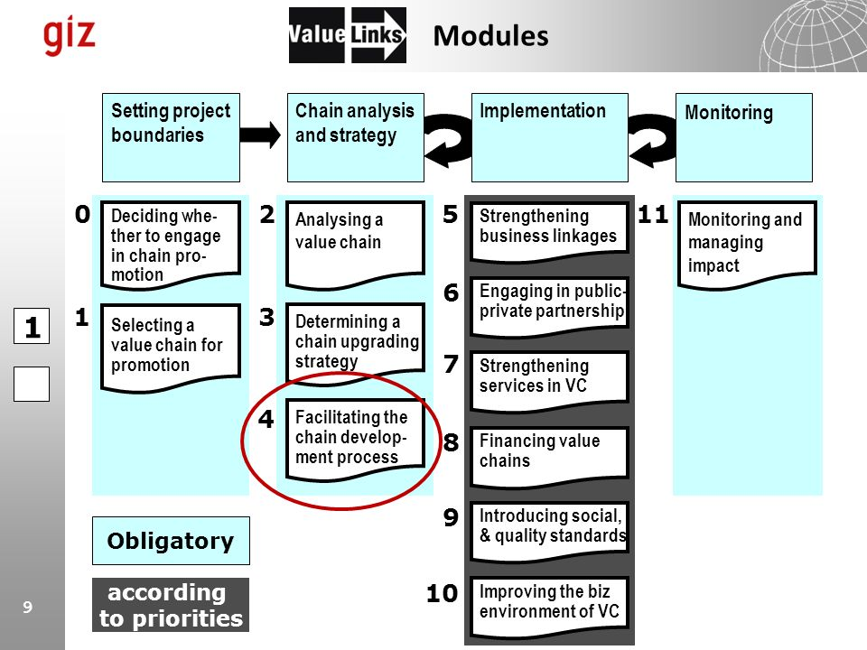 9 Strengthening business linkages Determining a chain upgrading strategy Analysing a value chain Facilitating the chain develop- ment process Implemen