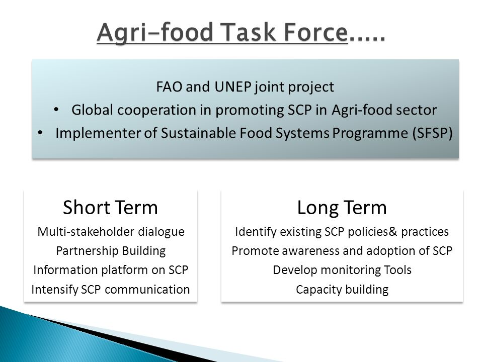 FAO and UNEP joint project Global cooperation in promoting SCP in Agri-food sector Implementer of Sustainable Food Systems Programme (SFSP) FAO and UNEP joint project Global cooperation in promoting SCP in Agri-food sector Implementer of Sustainable Food Systems Programme (SFSP) Long Term Identify existing SCP policies& practices Promote awareness and adoption of SCP Develop monitoring Tools Capacity building Long Term Identify existing SCP policies& practices Promote awareness and adoption of SCP Develop monitoring Tools Capacity building Short Term Multi-stakeholder dialogue Partnership Building Information platform on SCP Intensify SCP communication Short Term Multi-stakeholder dialogue Partnership Building Information platform on SCP Intensify SCP communication Agri-food Task Force.....