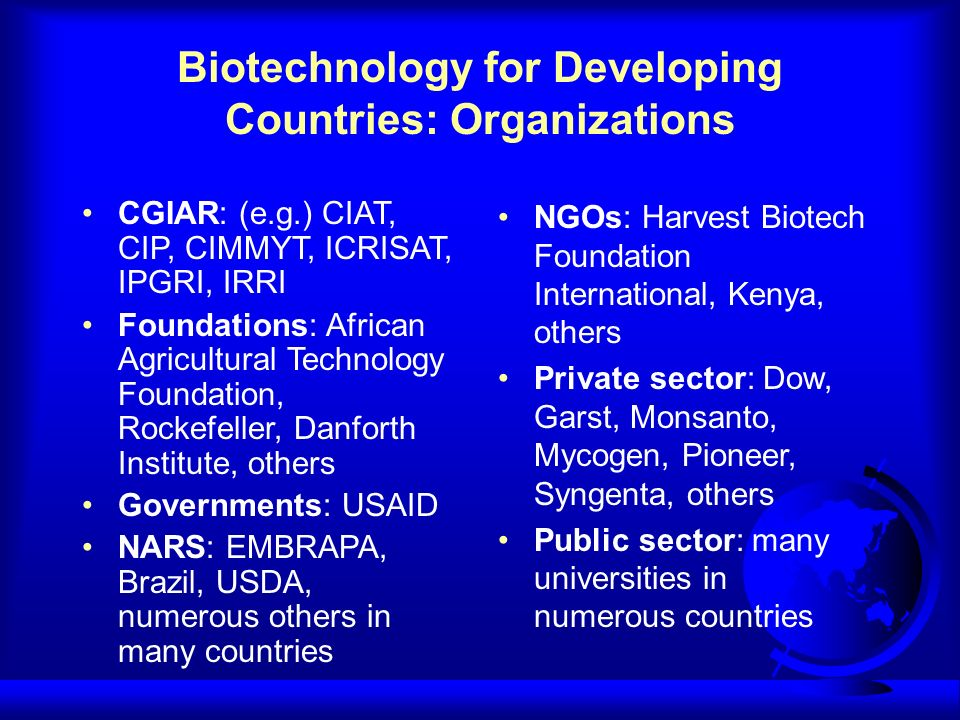 Biotechnology for Developing Countries: Organizations CGIAR: (e.g.) CIAT, CIP, CIMMYT, ICRISAT, IPGRI, IRRI Foundations: African Agricultural Technology Foundation, Rockefeller, Danforth Institute, others Governments: USAID NARS: EMBRAPA, Brazil, USDA, numerous others in many countries NGOs: Harvest Biotech Foundation International, Kenya, others Private sector: Dow, Garst, Monsanto, Mycogen, Pioneer, Syngenta, others Public sector: many universities in numerous countries