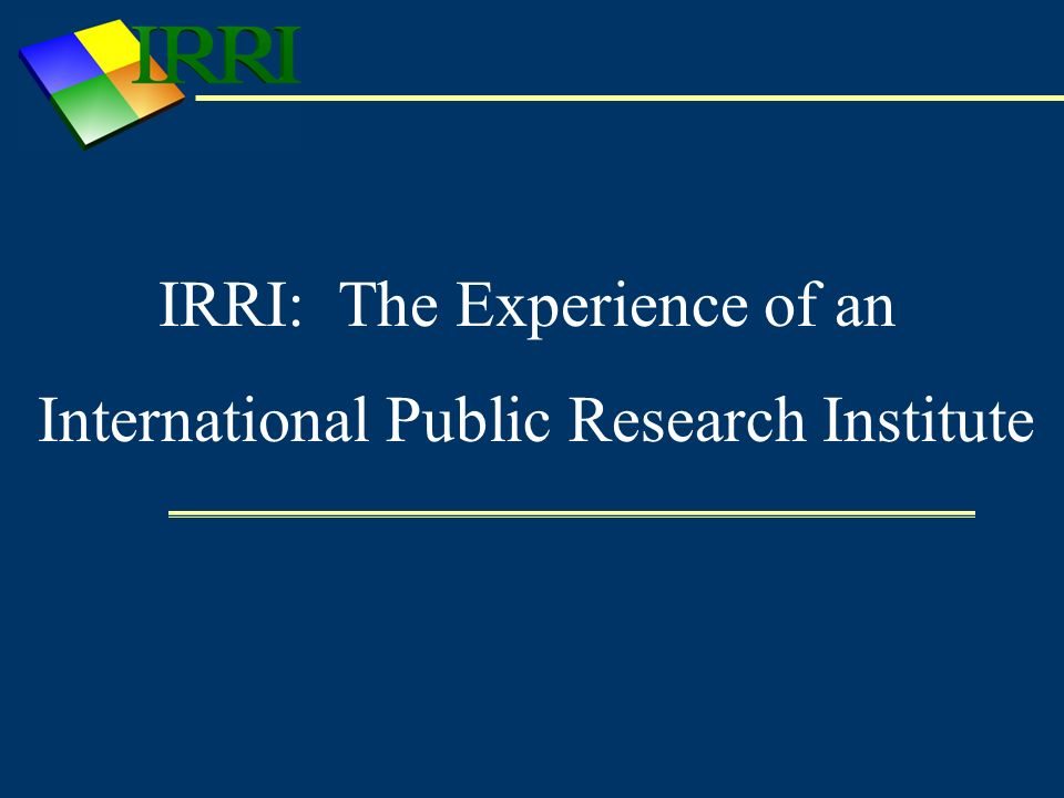 Intellectual Properties and Commercialization Licensing of IRRIs IP assets – limited Photos from the IRRI Photobank Maps and other GIS data Commercialization Transfer of technologies to national partners and farmers