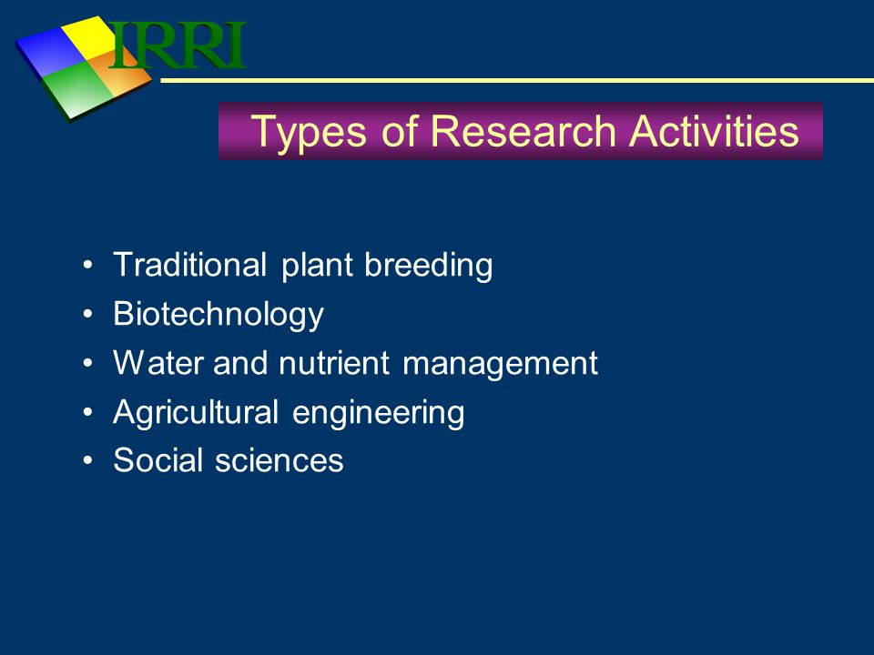 Types of Research Partners Ministries of Agriculture Universities – public – private Research Institutes – public – private