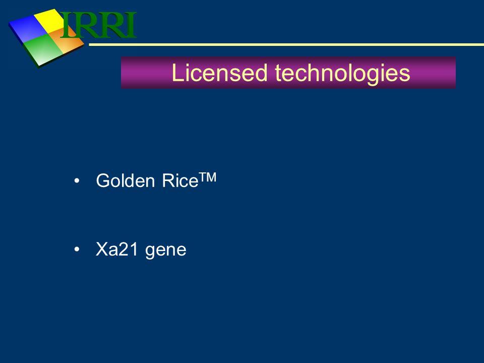 Licensed technologies Golden Rice TM Xa21 gene