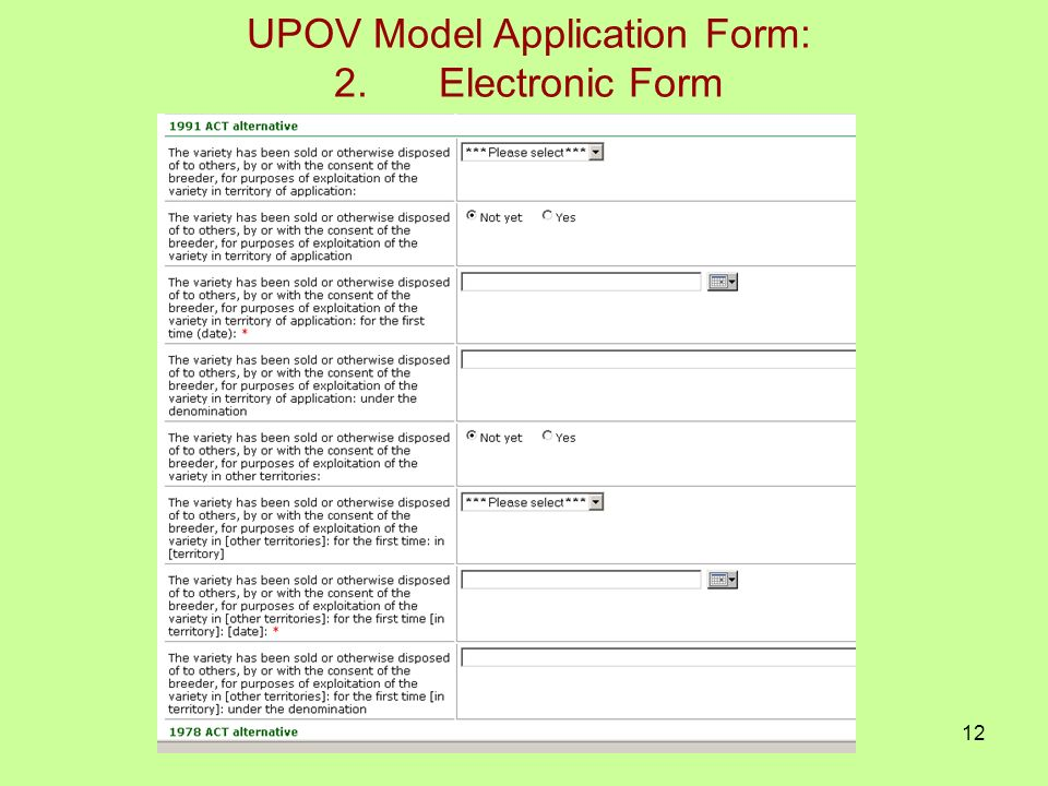 12 UPOV Model Application Form: 2.Electronic Form