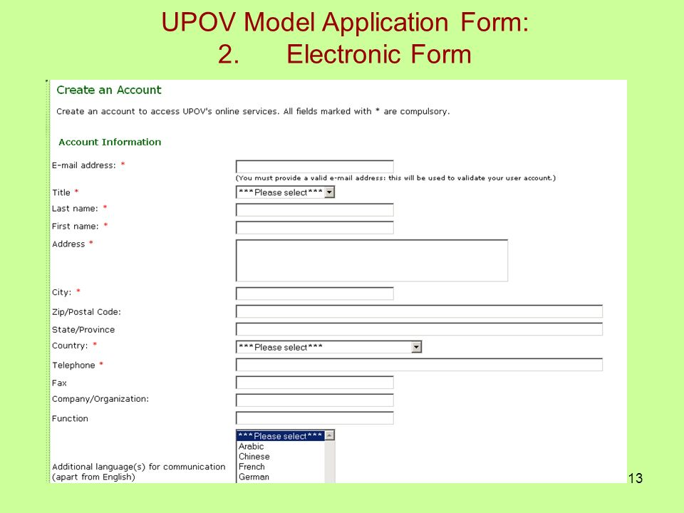 13 UPOV Model Application Form: 2.Electronic Form