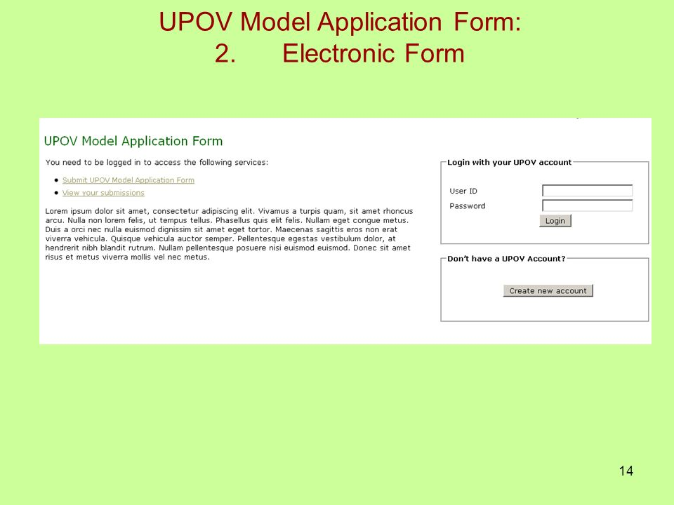 14 UPOV Model Application Form: 2.Electronic Form