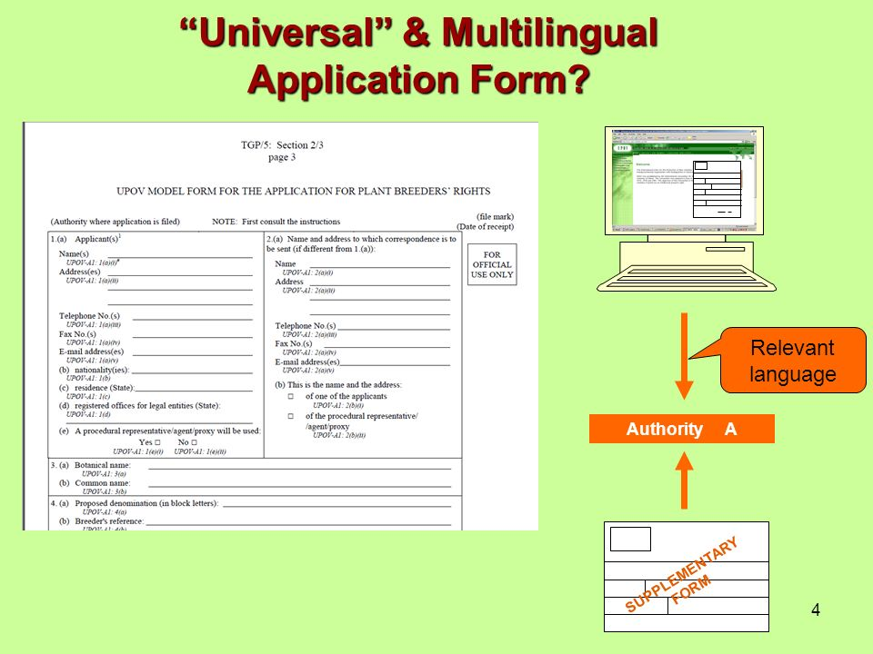 4 Authority A Relevant language SUPPLEMENTARY FORM Universal & Multilingual Application Form