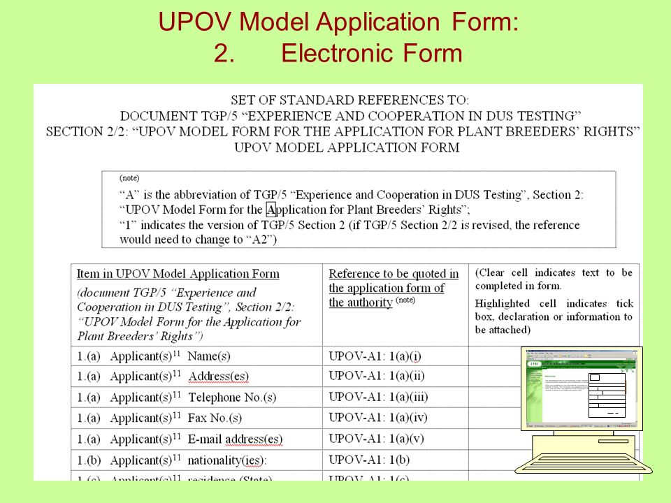 9 UPOV Model Application Form: 2.Electronic Form