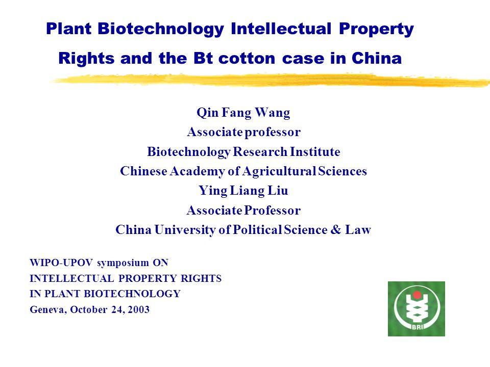 Plant Biotechnology Intellectual Property Rights and the Bt cotton case in China Qin Fang Wang Associate professor Biotechnology Research Institute Ch
