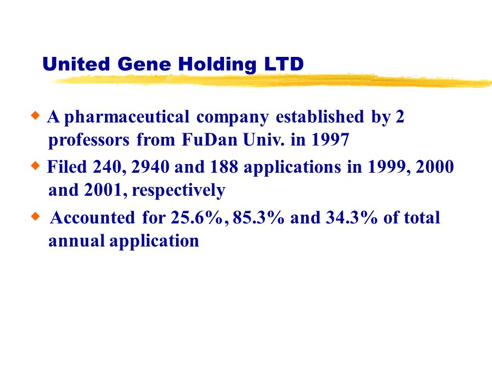 United Gene Holding LTD A pharmaceutical company established by 2 professors from FuDan Univ.