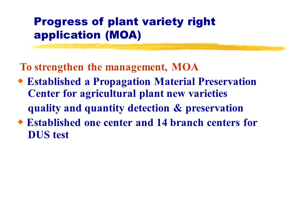Progress of plant variety right application (MOA) To strengthen the management, MOA Established a Propagation Material Preservation Center for agricultural plant new varieties quality and quantity detection & preservation Established one center and 14 branch centers for DUS test