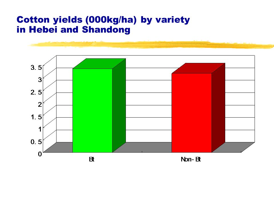 Cotton yields (000kg/ha) by variety in Hebei and Shandong