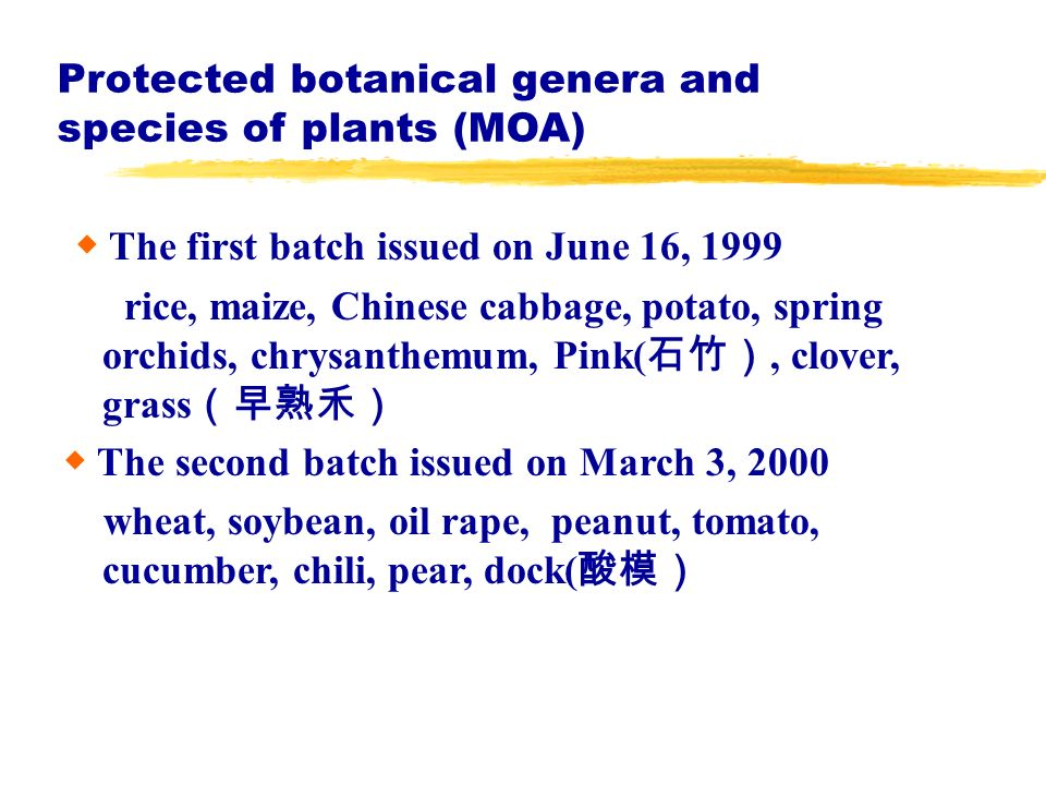Protected botanical genera and species of plants (MOA) The first batch issued on June 16, 1999 rice, maize, Chinese cabbage, potato, spring orchids, chrysanthemum, Pink(, clover, grass The second batch issued on March 3, 2000 wheat, soybean, oil rape, peanut, tomato, cucumber, chili, pear, dock(