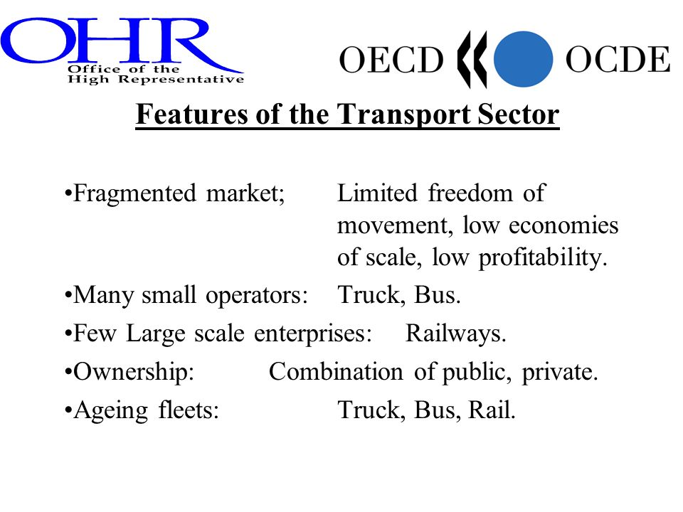 Features of the Transport Sector Fragmented market; Limited freedom of movement, low economies of scale, low profitability. Many small operators: Truc