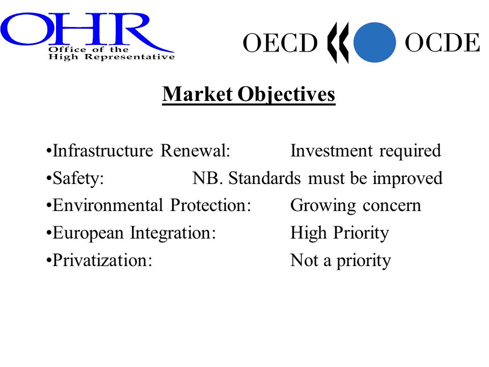 Market Objectives Infrastructure Renewal:Investment required Safety: NB. Standards must be improved Environmental Protection: Growing concern European