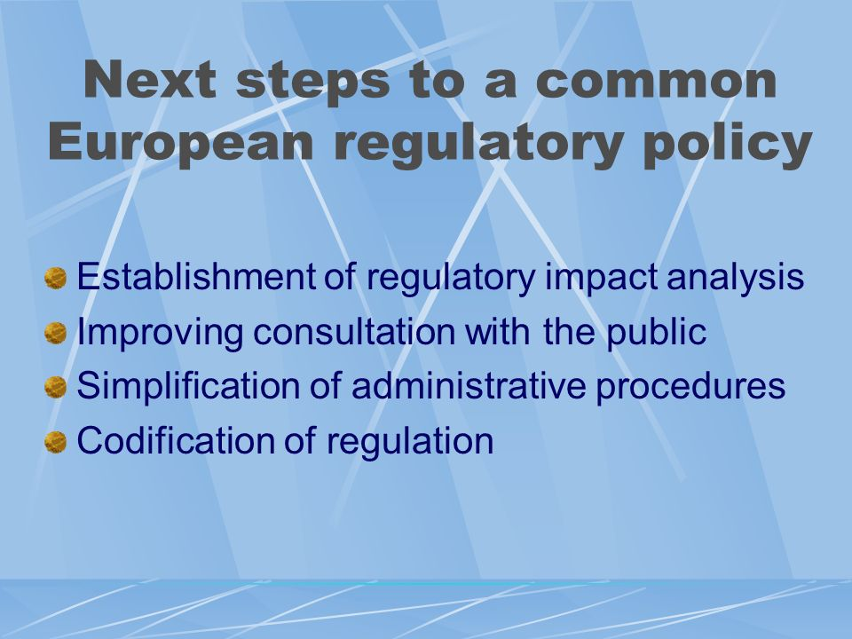 Next steps to a common European regulatory policy Establishment of regulatory impact analysis Improving consultation with the public Simplification of