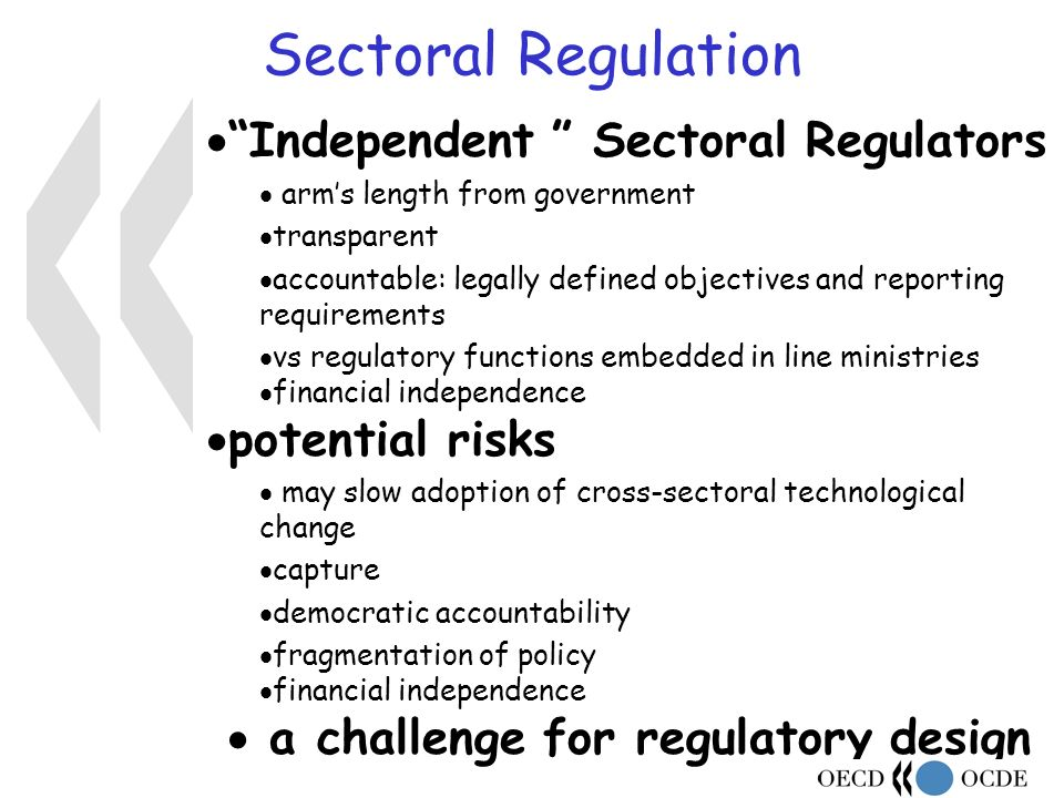 Sectoral Regulation Independent Sectoral Regulators arms length from government transparent accountable: legally defined objectives and reporting requirements vs regulatory functions embedded in line ministries financial independence potential risks may slow adoption of cross-sectoral technological change capture democratic accountability fragmentation of policy financial independence a challenge for regulatory design