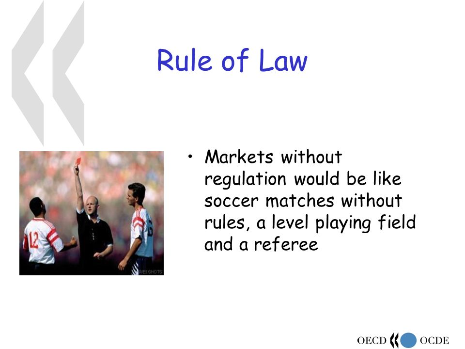 Rule of Law Markets without regulation would be like soccer matches without rules, a level playing field and a referee