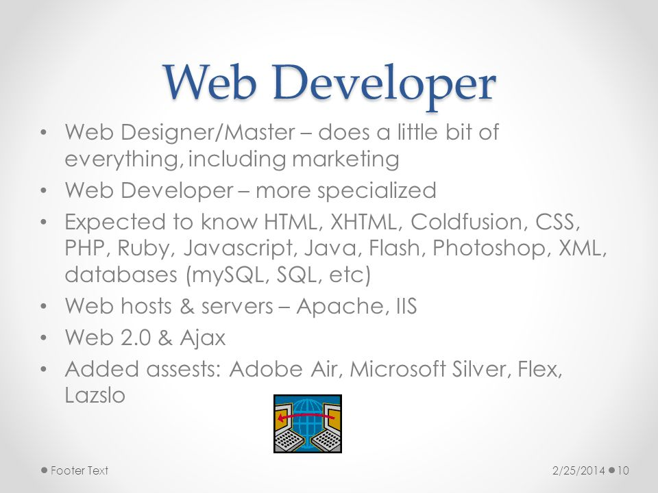 Web Developer Web Designer/Master – does a little bit of everything, including marketing Web Developer – more specialized Expected to know HTML, XHTML