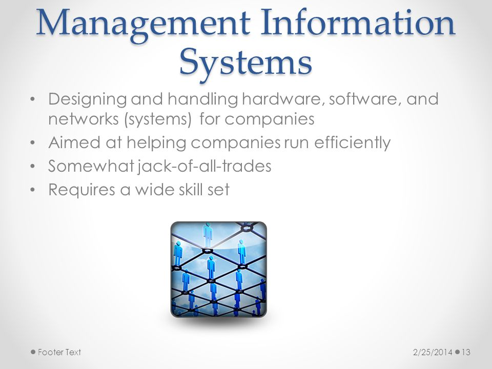 Management Information Systems Designing and handling hardware, software, and networks (systems) for companies Aimed at helping companies run efficiently Somewhat jack-of-all-trades Requires a wide skill set 2/25/2014Footer Text13