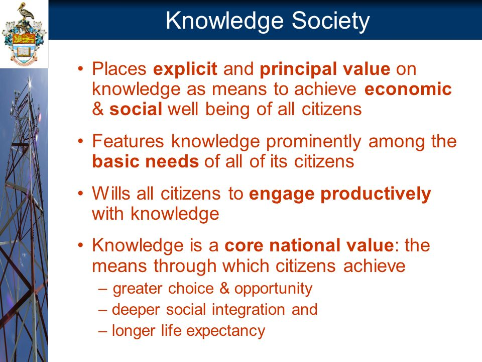 Knowledge Society Places explicit and principal value on knowledge as means to achieve economic & social well being of all citizens Features knowledge prominently among the basic needs of all of its citizens Wills all citizens to engage productively with knowledge Knowledge is a core national value: the means through which citizens achieve –greater choice & opportunity – deeper social integration and – longer life expectancy