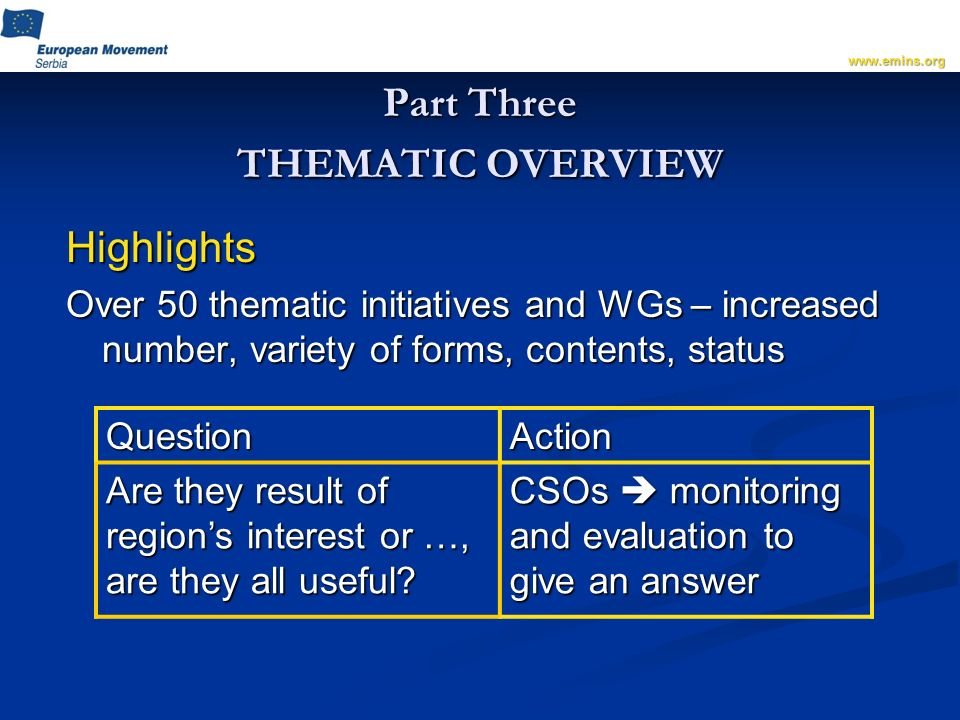 Part Three THEMATIC OVERVIEW Highlights Over 50 thematic initiatives and WGs – increased number, variety of forms, contents, status www.emins.orgQuestionAction Are they result of regions interest or …, are they all useful.